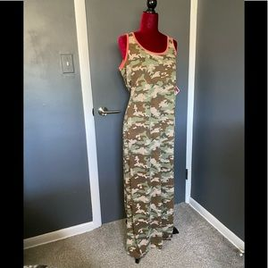 Camouflage Print Maxi Dress